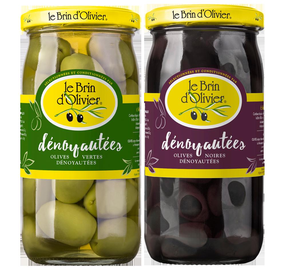 Nos olives vertes et noires dénoyautées