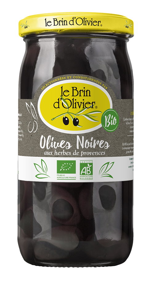Olives noires biologiques aux herbes de Provence