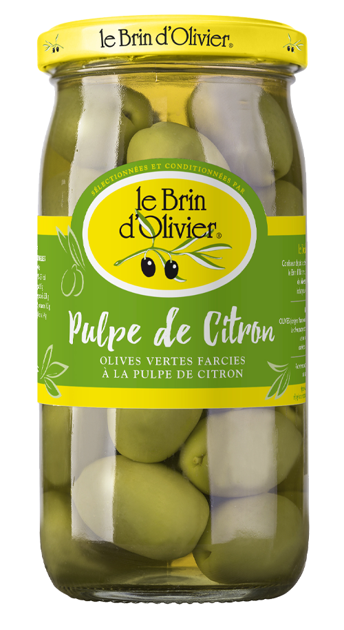 Olives vertes farcies à la pulpe de citron